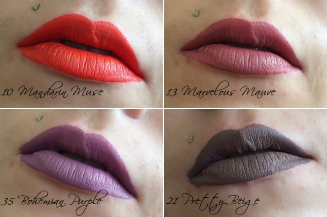 swatches rouges veloute sans transfert lip cream 10 mandarin muse 13 marvelous mauve 21 pretty beige 35 bohemian purple sephora.jpg